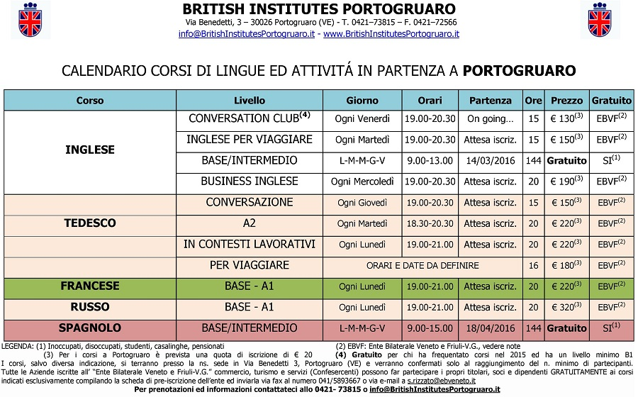 Corsi in Partenza al British Institutes Portogruaro