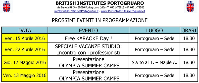 Eventi del British Institutes Portogruaro