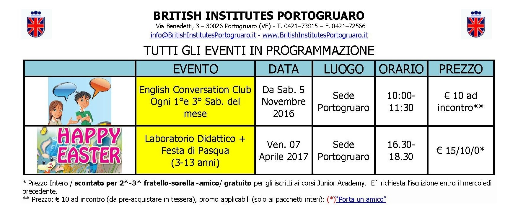 Eventi al British Institutes Portogruaro
