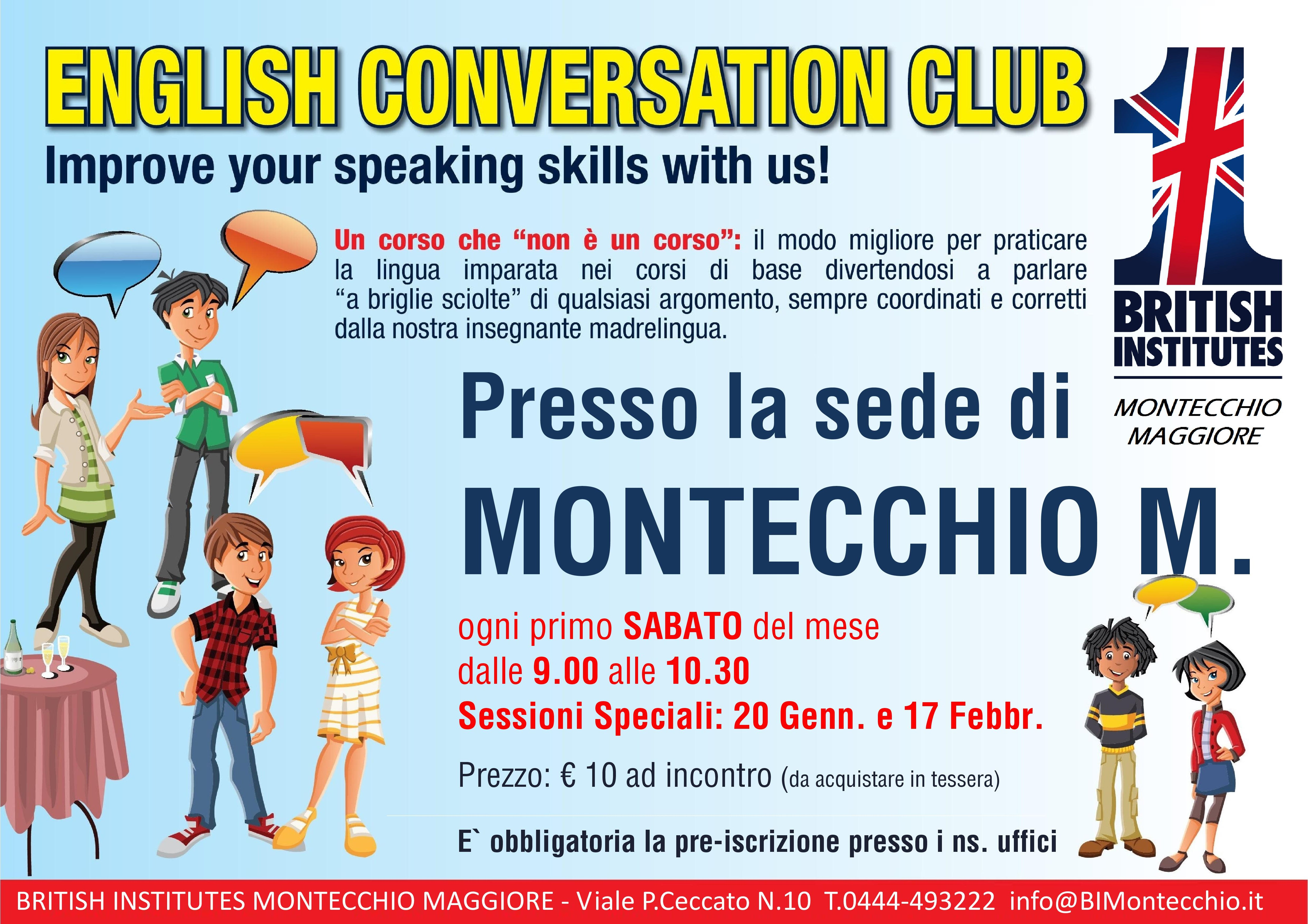 Locandina Conversation Club a Montecchio